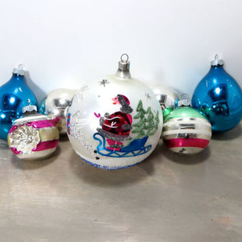 Vintage Christmas Tree Ornaments Glass Ornaments Shiny Brite Ornaments Blue and Pink Holiday Decor Mercury Glass Ornaments