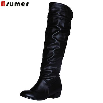 Women Fashion Boots Low Heel Knee Boots Slip On Autumn Winter Ladies High Boots
