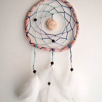 Dream Catcher - Mother Moon - With Beige Moon Amulet, Natural White Swan Feathers, Hand Dyed Frame - Home Decor, Nursery Mobile