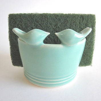 Kitchen sponge  holder with mint green by DarriellesClayArt