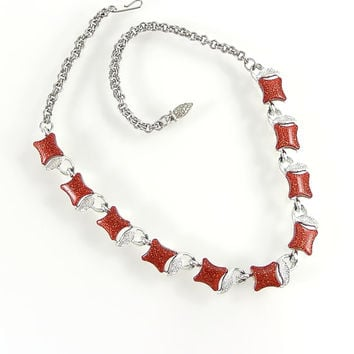 Vintage 1950s Confetti Lucite Necklace, Cherry Red and Silver Leaf Necklace, Valentines or Holiday Red