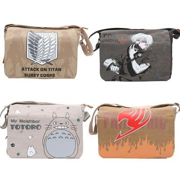 Cool Attack on Titan Anime Canvas Bag Messenger  Fairy Tail Shoulder Bag Totoro Backpack School Tokyo Ghoul Cosplay plush bag AT_90_11