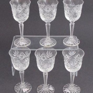 Hand Cut glass  Bryan Crystal sherry /port  Made in USA Sharon PA ,6 piece