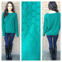 Emerald Acorn Knit Sweater