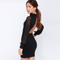 Sexy Backless Dress Pure Color Stitching Grenadine Slim Dress