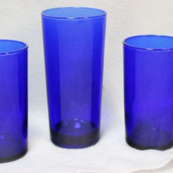 Cobalt Blue Vintage Drinking Glass  Hand Blown Tumbler REIMS France lot of 3