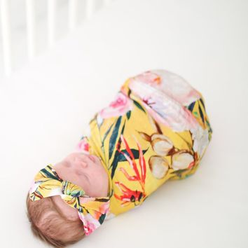 Tuscan Yellow Swaddle & Headband Set by Posh Peanut