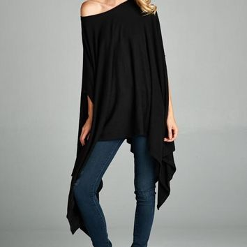 fleeced crew neck asymmetrical hemmed poncho tunic with slit armholes (4 colors)