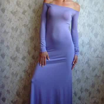 10% discount with coupon code cvetinka10 CUSTOM MADE Eco Friendly Sexy Feminine Maxi Tight Long Dress Off Shoulder In Lilac Light Purple