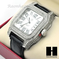 Mens Techno Pave Hip Hop Iced Out Bling Diamond Black Leather Watch GW190BK