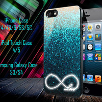 Glitter Love Infinity Samsung Galaxy S3/ S4 case, iPhone 4/4S / 5/ 5s/ 5c case, iPod Touch 4 / 5 case