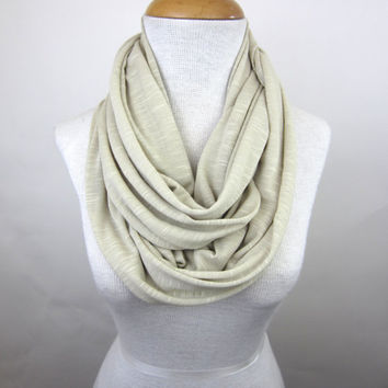Large Cream Infinity Scarf - Light Beige Jersey Scarf - Oversized Circle Scarf