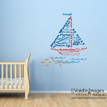 Sailboat shape nautical wall decal, word cloud decal, ocean wall decal, kids room wall decal, sea wall decal, nursery decal, nursery decor