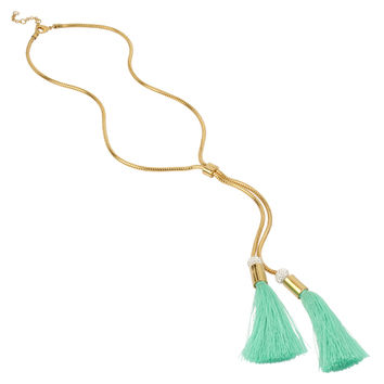 Straw Tassel Necklace, Mint