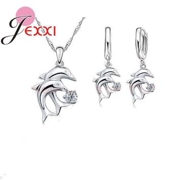 JEXXI Hot Doule Dolphin Jewelry Sets 925 Sterling Silver Jewellery White Cubic Zirconia Pendant Necklace Lever Back Earring