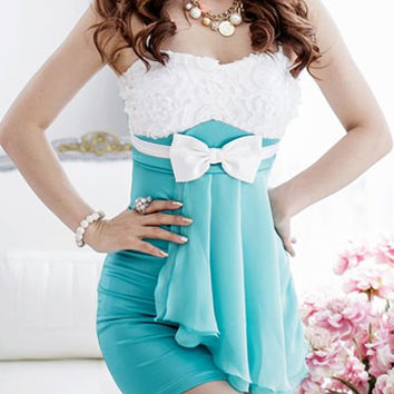 White and Green Spaghetti Strap Mini Dress with Ribbon