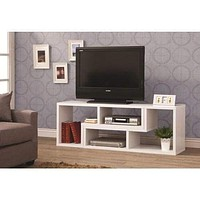 Hollow-Core TV Console and Bookcase Combination,  White