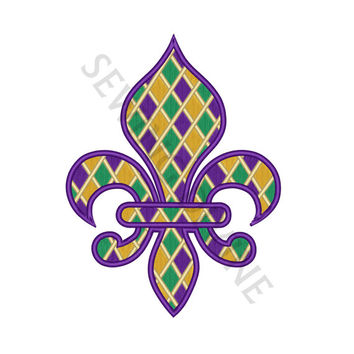 MARDI GRAS FLEUR De Lis Checkered Pattern Embroidery Fill Design 4x4 5x7 6x10 Instant Download