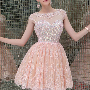 Cap Sleeve A-Line Lace Homecoming Dresses Dazzling Beaded Appliques Semi Formal Dress Vestidos Cortos Open Back Party Dress