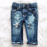 Baby Boy Distressed Jeans Toddler Jeans Unisex Jeans Distressed Denim Baby Pants Ripped Jeans Trendy Kids Pants, Sized Newborn-5T