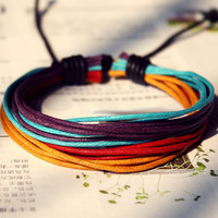 Handmade Multicolored hemp waxed cord Adjustable Bracelet M-4