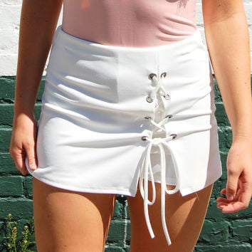 White Lace-Up Skort