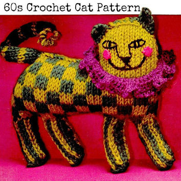 Crochet TOY Pattern Vintage 60s Crochet CAT Stuffed Animal Crochet Baby Toy Pattern Crochet Cat Doll Pattern