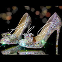 Charlie Co. AB Crystal Stilettos Round Toe Pumps Crystal Bow Heels Wedding Evening Bridal Prom Crystallized Heels