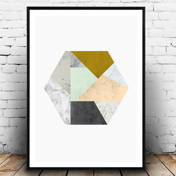 Hexagon print, Geometric art, Watercolor abstract, Marble print, Scandinavian print, Minimalist art, simple decor, Home wall art, gray, pink
