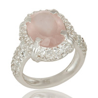 925 Sterling Silver Rose Quartz And White Topaz Halo Style Statement Ring