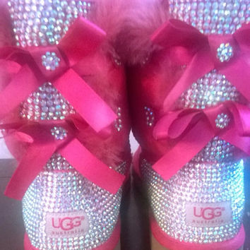 Custom Bling Ugg boots, Pink Bailey Bow