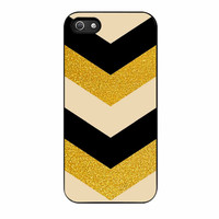 Chevron Classy Black And Gold Printed iPhone 5s Case