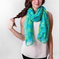 Skull Island Scarf - Blue at Bluetique Cheap Chic
