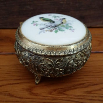 Vintage Ornate Gold Toned Round Trinket Box Music Box With Porcelain Bird Top