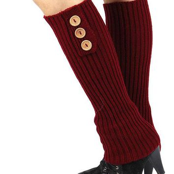 LEG WARMER BUTTON ACCENT KNITTED FABRIC