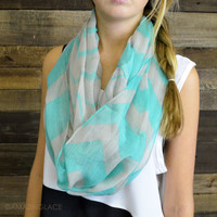 North Woods Mint Striped Infinity Scarf