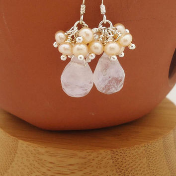 Quartz and Freshwater Pearls Earrings, Quartz Cluster Earrings, Faceted Quartz Teardrop Cluster Earrings