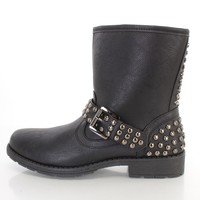 Black Studded Buckle Strap Ankle Booties Faux Leather