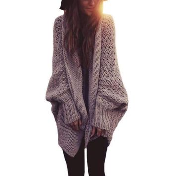 Oversized Knitted Batwing Sleeve Women Long Cardigan