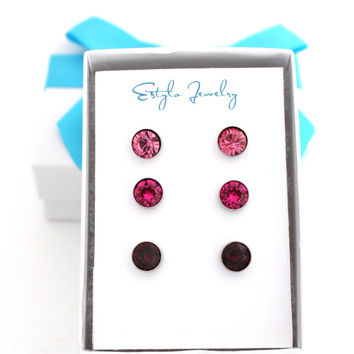 Pink Stud Earrings, Fuchsia Earrings, Tiny Stud Earring Set, Thanks For Being My Unbiological Sister, Silver Stud Earring, Tiny Earring Stud