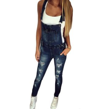 DCCKLW8 2017 Autumn Pants Jumpsuits Women Overalls Jeans Jumpsuit Office Casual Hole Denim Jumpsuits Pencil Long Pant Femme