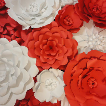 Red Paper Flower Wall 5 ft x 5 ft Extra Large Paper Flowers Decoration Photo Backdrop Prop Valentine's Day Decor