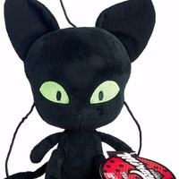 Bandai Miraculous Ladybug Plagg Black Cat / Chat Noir Kwamii 6 in. Plush Toy