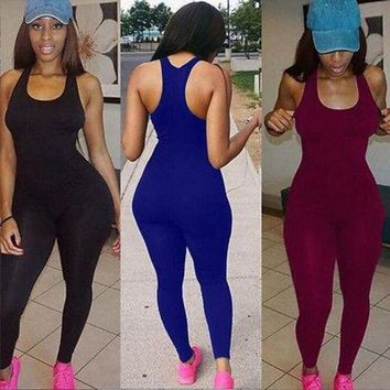 ONETOW Women Sexy Casual Sleeveless Bodycon Romper Jumpsuit Playsuit Club Bodysuit Long Pants