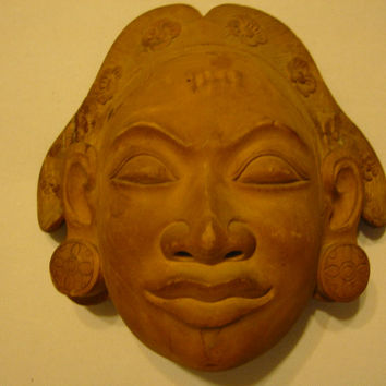 Tribal Mask Indonesian Folk Art Wood Carving Hand Crafted Wall Decor