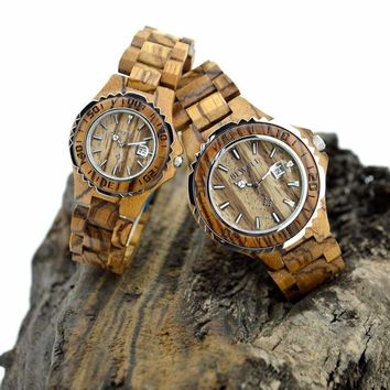 BEWELL 2018 Couple Watches Wooden Strap Luminous Hands Waterproof with Calendar Lover's Wood Watch as Valentines Gift W100B