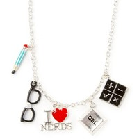 I Love Nerds Charms Pendant Necklace  | Claire's