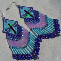 Brick stitch beaded Dragonfly earrings