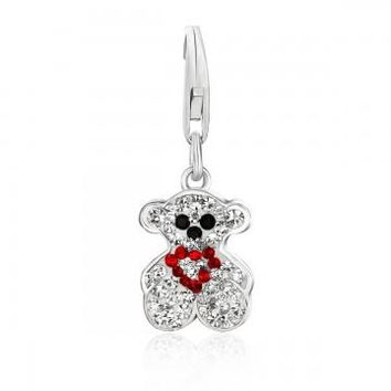 Sterling Silver Bear Charm with Multi Tone Crystal Embellishments