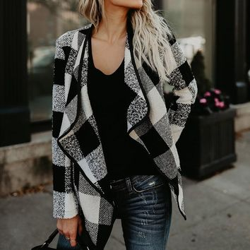 Women Blazer Check&Plaid Vintage Cardigan Jacket 2018 Autumn Winter Long Sleeve Casual Asymmetric Feminino Coat Loose Outwear